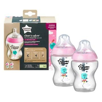 0142927 tommee tippee ctn decorated 2 260 ml pink muanyag cumisuveg brendon 142927 360